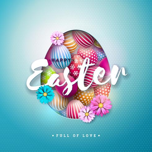 Vector Illustration of Happy Easter Holiday with Painted Egg, and Spring Flower on Shiny Blue Background.