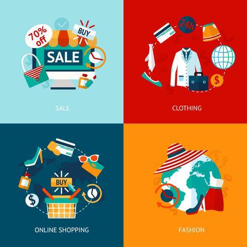 Shopping vêtements plats icônes définies