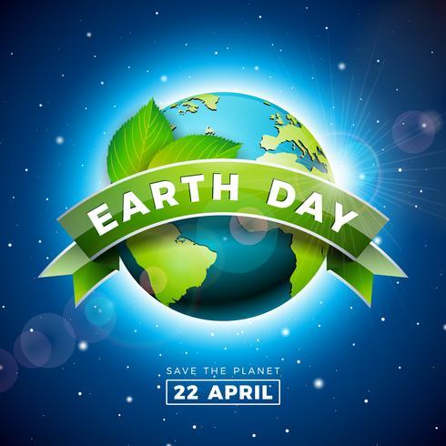 Ilustración del Día de la Tierra con el planeta y la hoja verde. Fondo de mapa del mundo en concepto de medio ambiente 22 de abril. vector