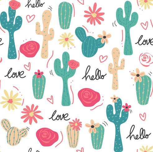 söt tropisk kaktus handritad sömlös mönster
