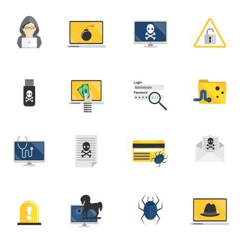 Ícones de hacker plana vetor