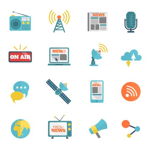 Media Flat Icons vector