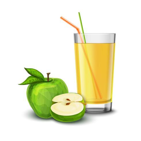 Copo de suco de maçã vetor