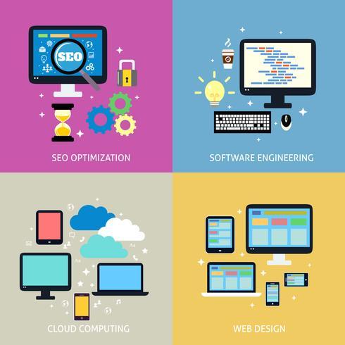 Concepto de proceso de negocio plano vector
