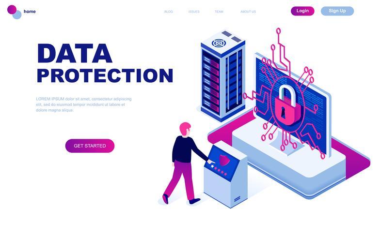 Concepto isométrico moderno de diseño plano de protección de datos