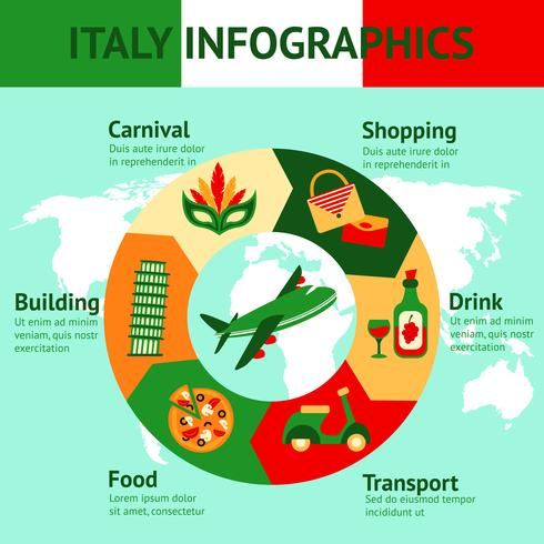 Itália viajar infográficos vetor