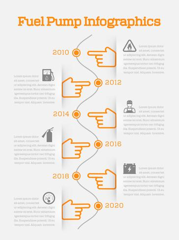 Auto gasoline service time line infographics vector