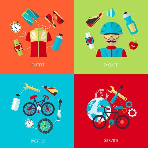 Conjunto de ícones plana de bicicleta vetor