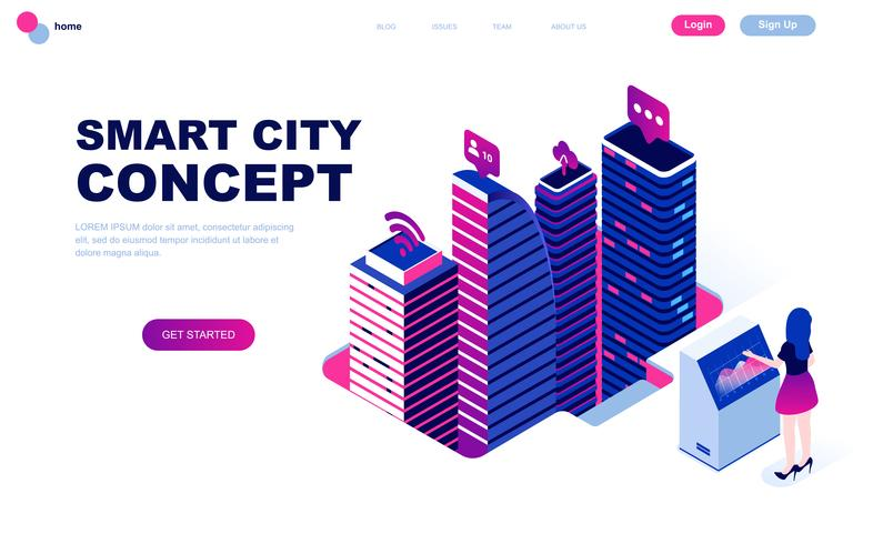 Modern flat design isometric concept of Smart City Technology