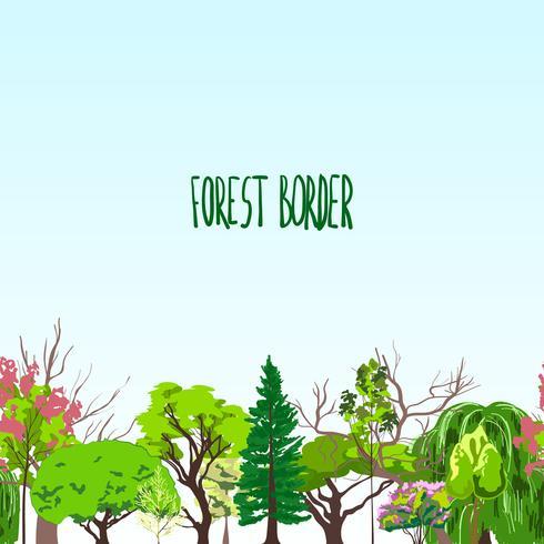 Esboço de árvores de fronteira Fotest vetor
