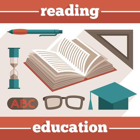 Conjunto de ícones de leitura de educação