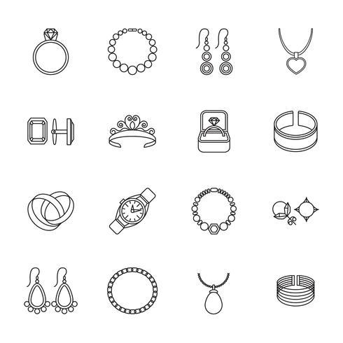 Contorno de ícone de jóias vetor