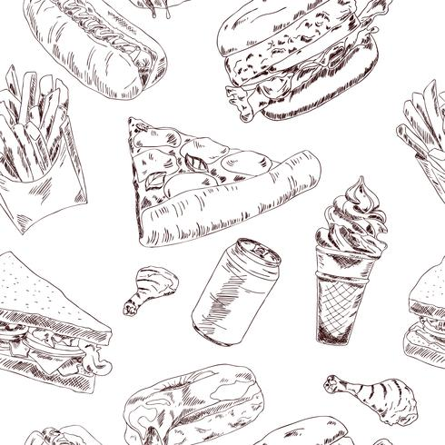 Schizzo di fast food senza soluzione di continuità