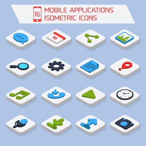 Iconos isométricos de aplicaciones móviles. vector