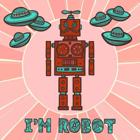Hipster robot design vector