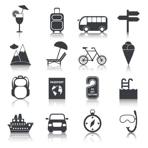 Conjunto de ícones pretos de viagens