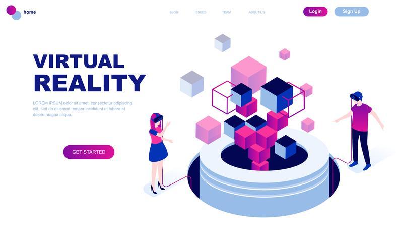Concept isométrique de design plat moderne de réalité augmentée virtuelle