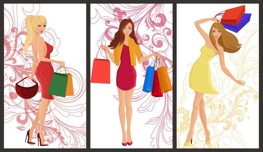 Banner de garota de compras vetor