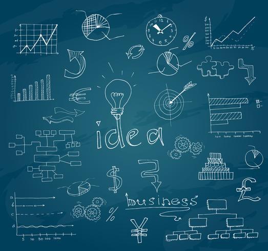 Business sketch chalkboard vector
