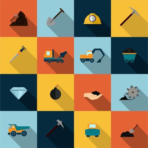 Icone di data mining messe piatte