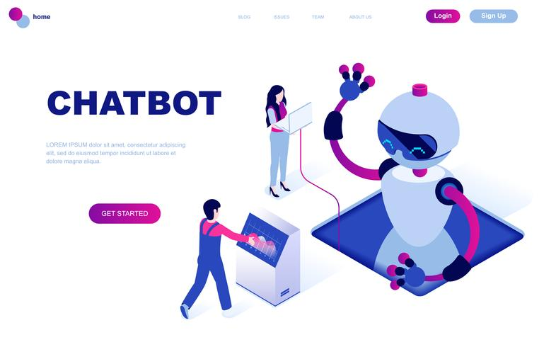Conceito isométrico moderno design plano de Chat Bot e Marketing vetor