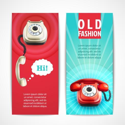 Antigas, telefone, bandeiras, vertical vetor