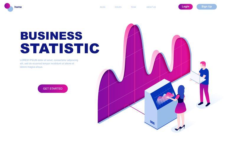 Concepto isométrico moderno diseño plano de estadística empresarial vector
