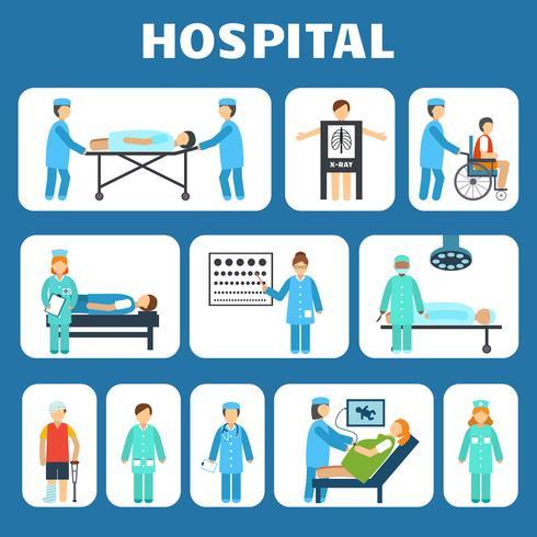 Conjunto de pictogramas planas médicas vetor