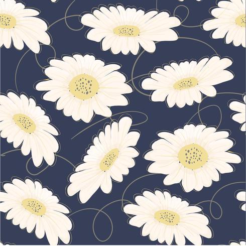 flor de margarida branca desenhada mão padrão sem emenda