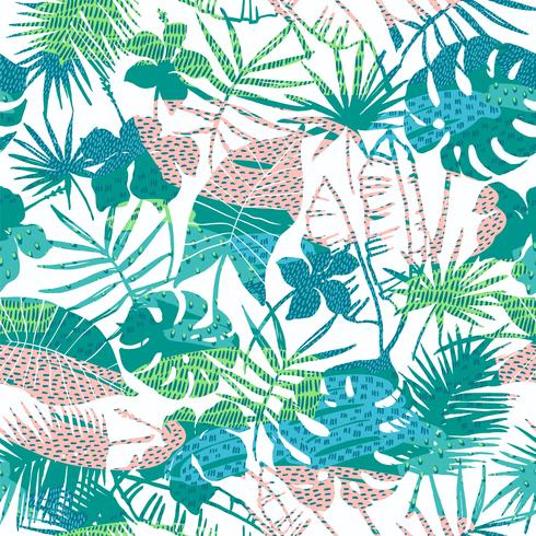 Modello esotico senza cuciture con piante tropicali. Sfondo vettoriale