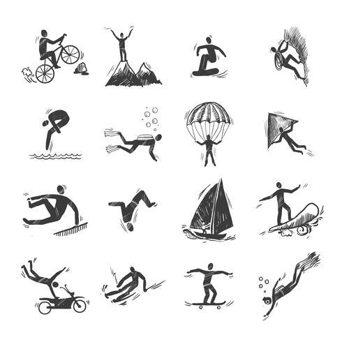 Croquis d'icônes de sports extrêmes vecteur