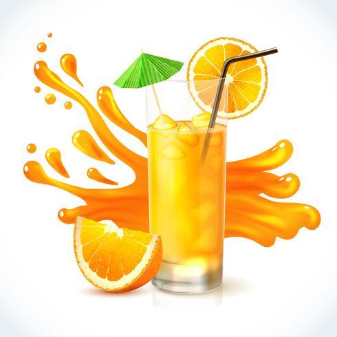 Ghiaccio succo d'arancia vettore