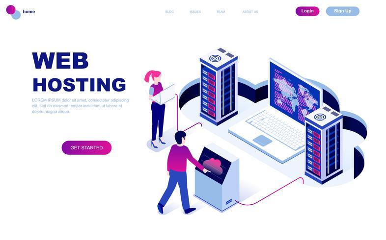 Modern flat design isometric concept of Web Hosting