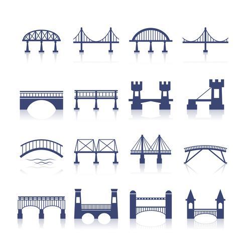 Conjunto de iconos de puente vector