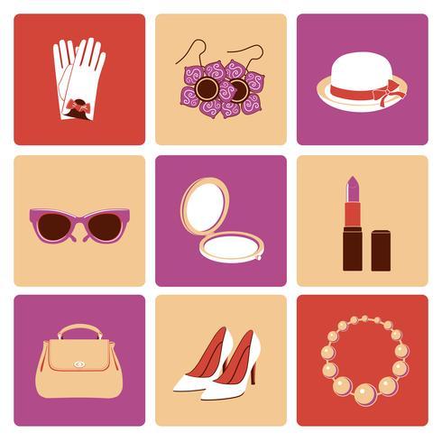 Conjunto de ícones plana de acessórios de mulher vetor
