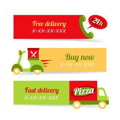 Bannières de livraison rapide de pizza