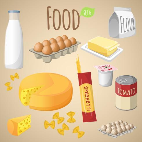 Conjunto de mezcla de alimentos vector
