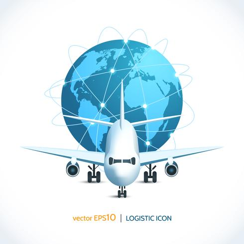 Icono logistico avion vector