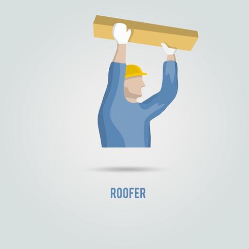 Roofer com ícone de madeira vetor