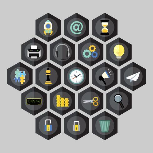 Hexagon business icons vector