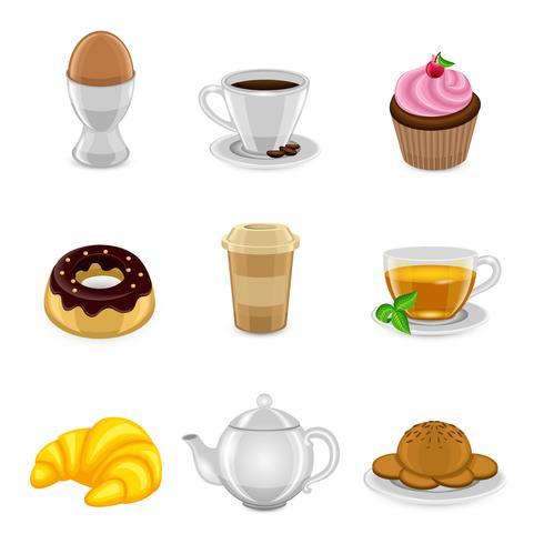 Ontbijt pictogramserie vector