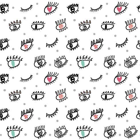 olho cílios doodle padrão sem emenda