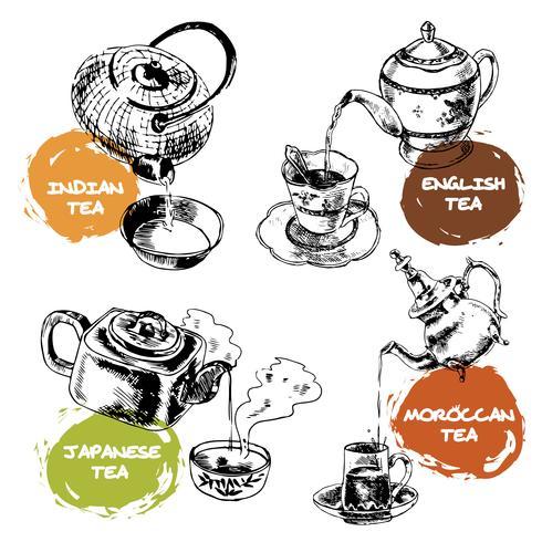 Teekanne und Tassen Icons Set vektor