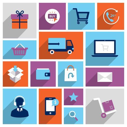 Winkelen e-commerce pictogrammen