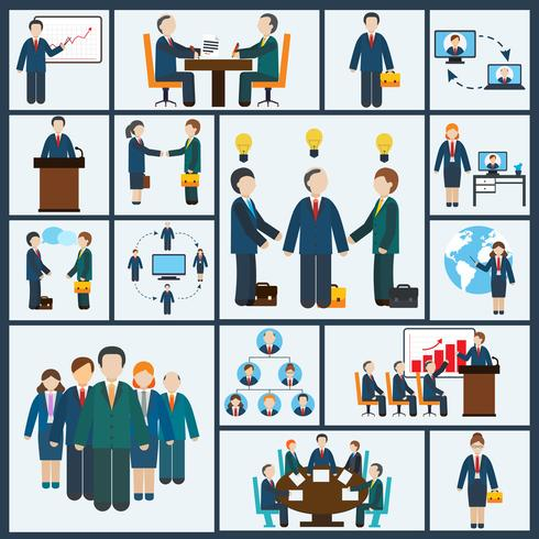 Reunião, ícones, jogo vetor