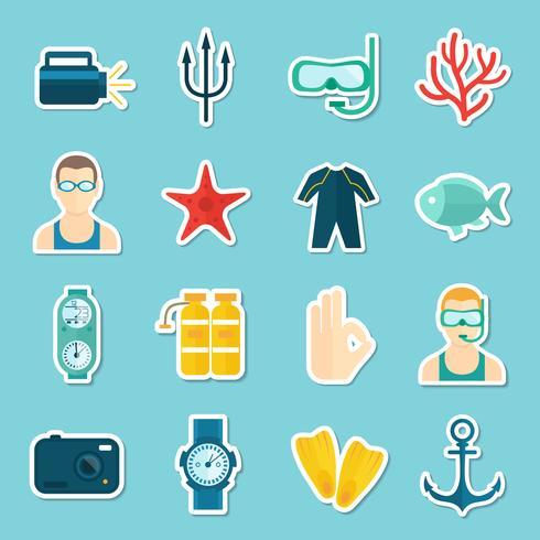 Dykning ikoner Set vektor