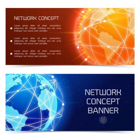 Bannières de concept réseau globe
