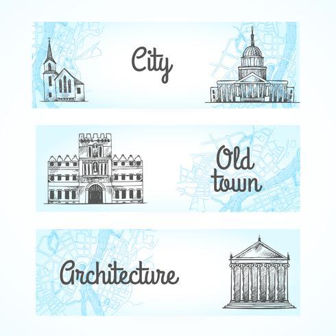 Conjunto de banners com edifícios vetor