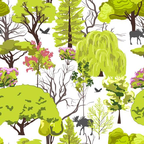Forest tree sketch seamless