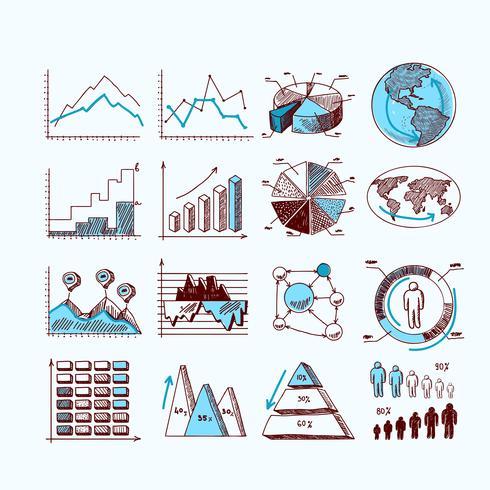 Diagrama de negócios esboço vetor